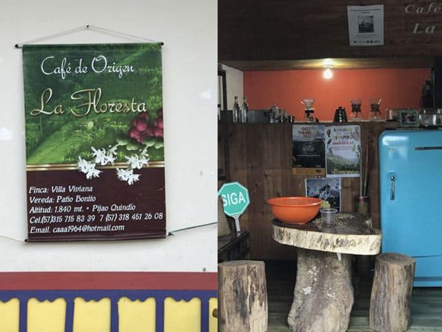 Fachada del Café La Floresta en Pijao