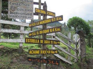 Indicaciones Valle de Cocora-Acaime