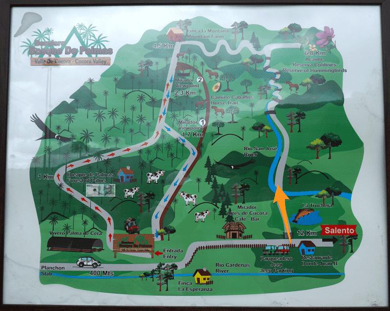 Mapa rutas de trekking Valle de Cocora